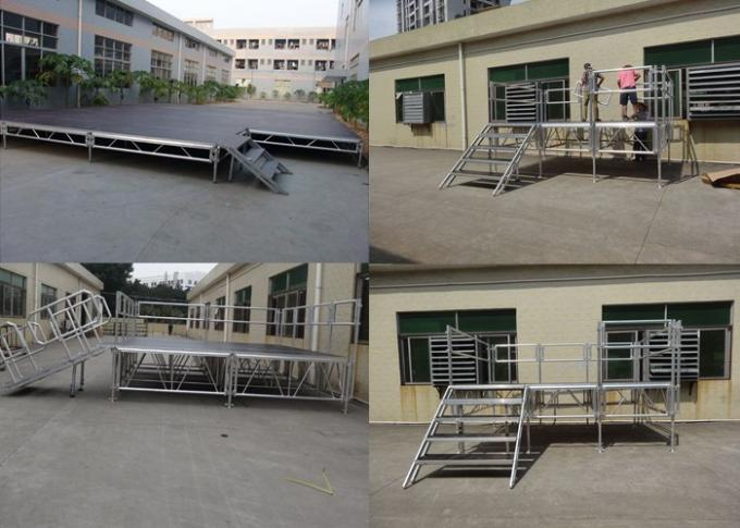 Anti - Slip Square Aluminum Folding Stage , Smart Mobile Outdoor Stage Platform